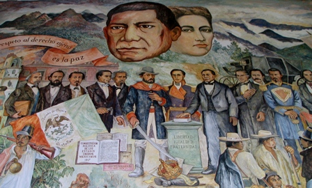 Benito Juarez and Spouse in Mural in Former Governor's Building